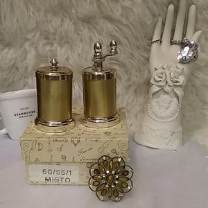 Italian Made Gold Silver Salt and Pepper shakers